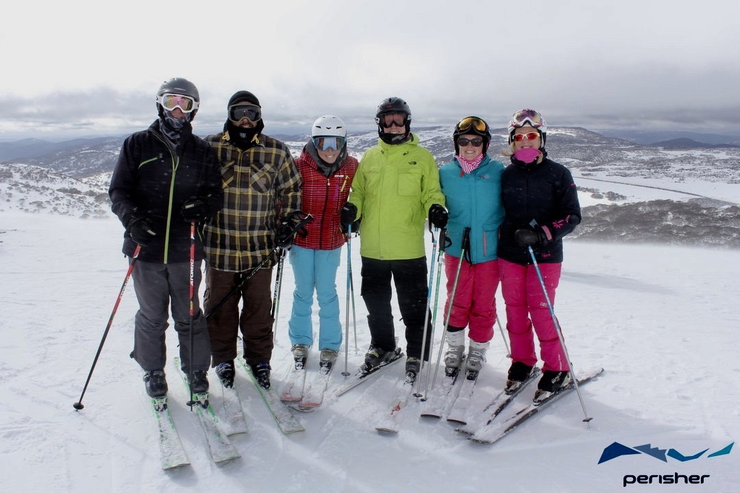 Skiers at top of mountain